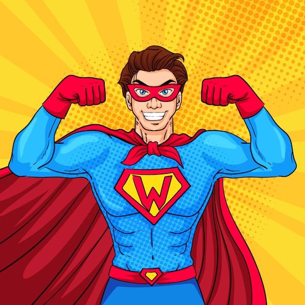 Superheldenkarakter met pop-artstijl Premium Vector