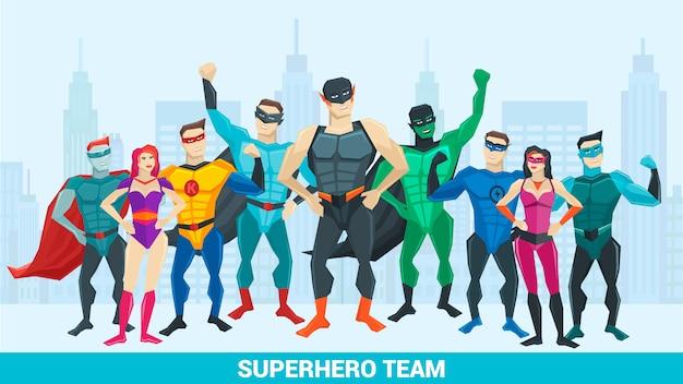 Superheldensamenstelling met een groep superhelden van verschillende seksen tegen de achtergrond van de stad Gratis Vector