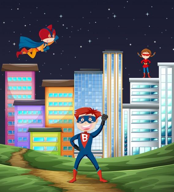 Superheldscene voor kinderen Gratis Vector