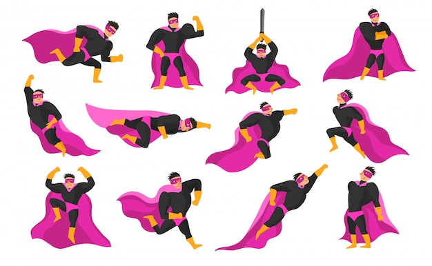 Superhero acties en emoties set Gratis Vector