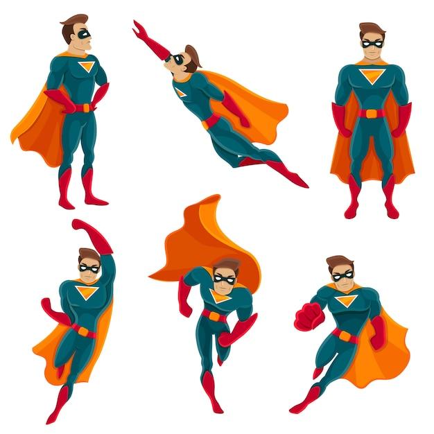 Superhero acties icon set Gratis Vector