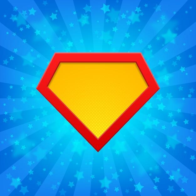 Superhero-embleem bij heldere blauwe stralenachtergrond met sterren. halftone punten, schaduwen. Premium Vector