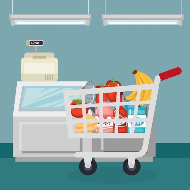 Supermarkt boodschappen in uw winkelwagen Gratis Vector