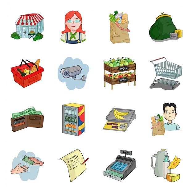 Supermarkt cartoon ingesteld pictogram. winkel en markt geïsoleerde cartoon ingesteld pictogram. illustratie winkel. Premium Vector