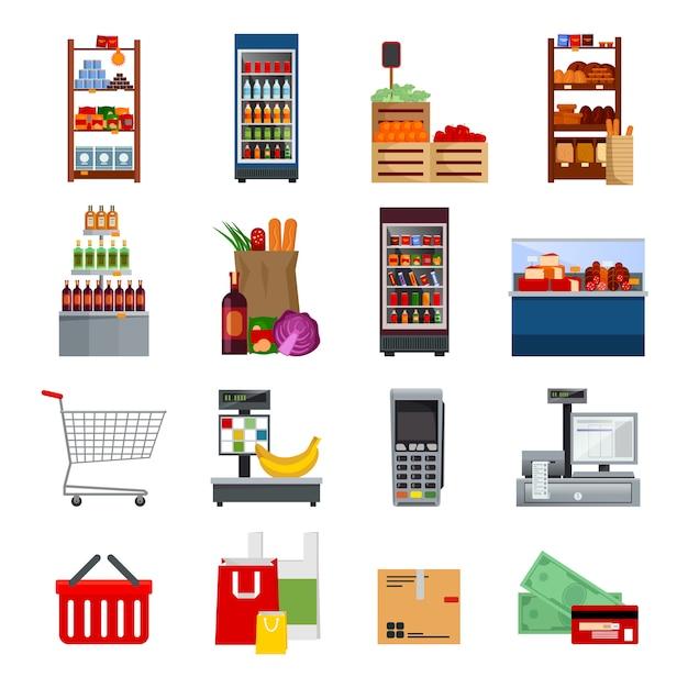 Supermarkt decoratieve plat pictogrammen instellen Gratis Vector