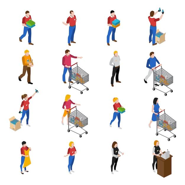 Supermarkt icons set Gratis Vector