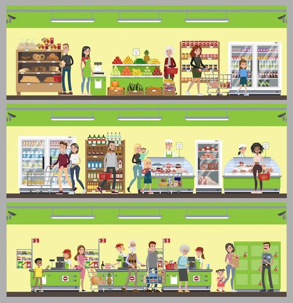 Supermarkt interieur set. mensen kopen eten en drinken. Premium Vector