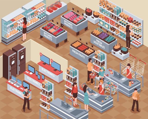 Supermarkt isometrische illustratie Gratis Vector