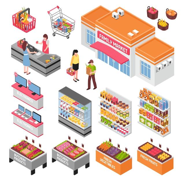 Supermarkt isometrische set Gratis Vector