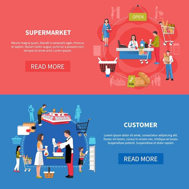 Supermarkt klanten banners Gratis Vector