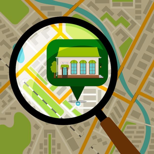 Supermarkt locatie op plattegrond van de stad. opslagvoorzijde over de gekleurde vectorillustratie van de stadskaart Premium Vector