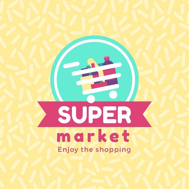 Supermarkt logo concept Gratis Vector