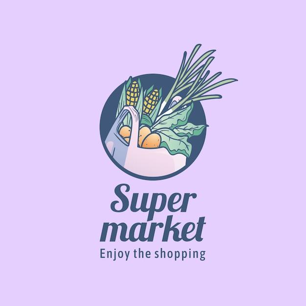 Supermarkt logo sjabloon met boodschappentas Gratis Vector