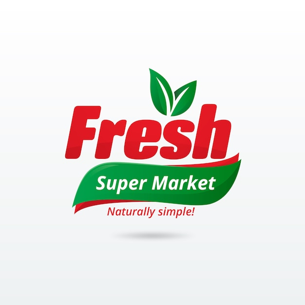 Supermarkt logo sjabloon Gratis Vector