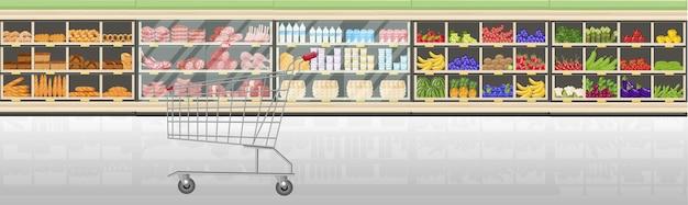 Supermarkt staat met voedselproducten vector vlakke stijl. kassier receptie op de markt. winkelen boodschappen en vlees vooraanzichten Premium Vector