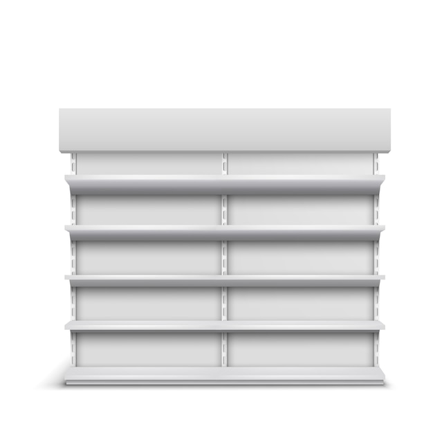 Supermarkt vitrine lege schappen 3d realistische vector geïsoleerd Gratis Vector