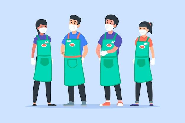 Supermarkt werknemers collectie Gratis Vector
