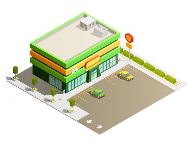 Supermarkt winkel gebouw isometrisch buitenaanzicht Gratis Vector