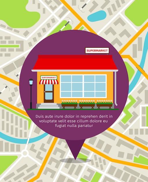Supermarkt winkel punaise boven de plattegrond van de stad. vector navigatie illustratie Premium Vector