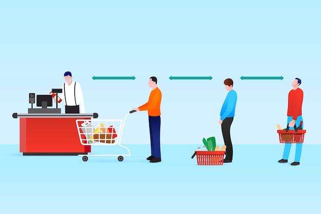 Supermarktrij met veiligheidsafstand Gratis Vector