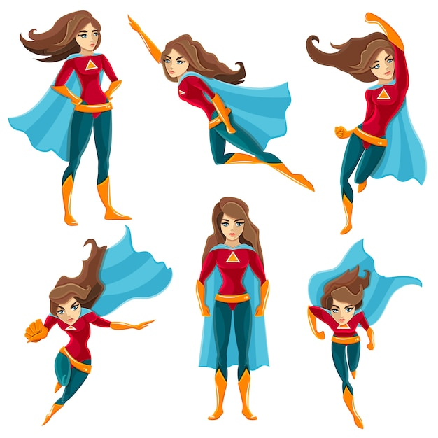 Superwoman acties icon set Gratis Vector