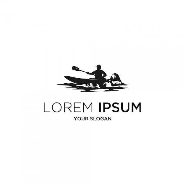 Surf kajak silhouet logo Premium Vector