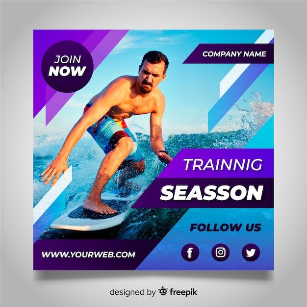 Surfen atleet banner met foto Gratis Vector