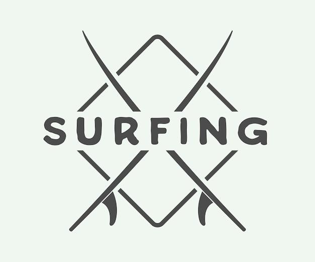 Surfen logo, label of badge Premium Vector
