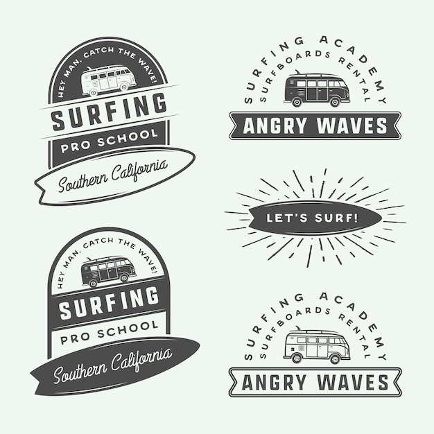 Surfen logo set Premium Vector
