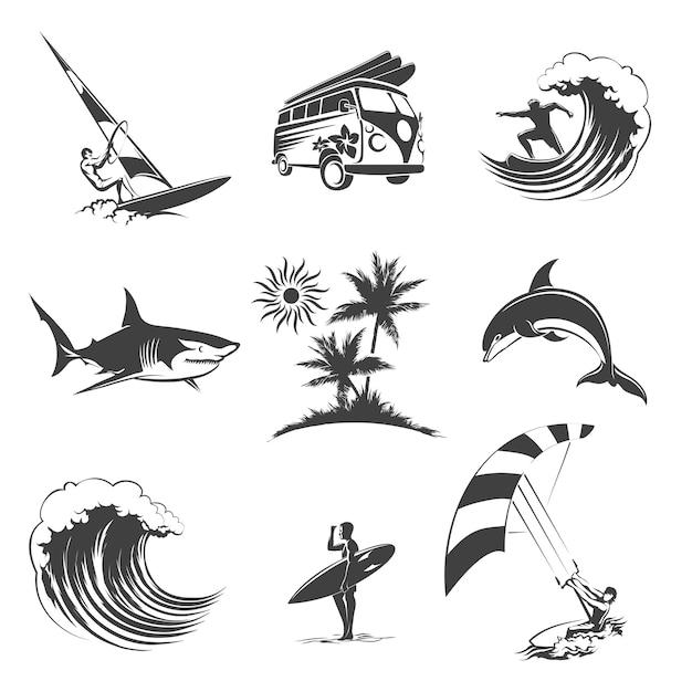 Surfen pictogrammen instellen. sport surfen op zee, strand en reizen, surfer teken, Gratis Vector