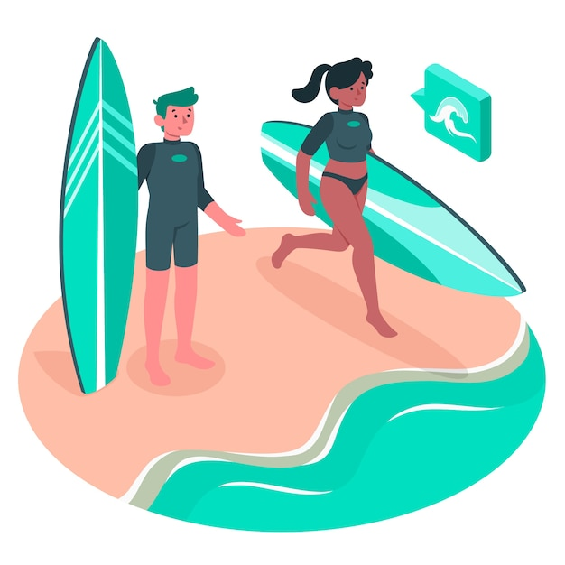Surfer concept illustratie Gratis Vector