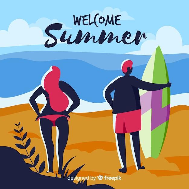 Surfer paar zomer achtergrond Gratis Vector