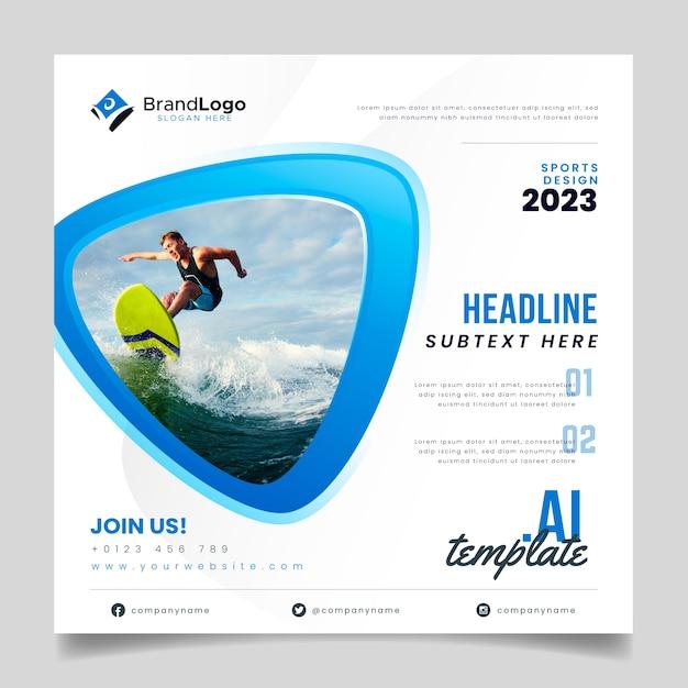 Surfer sjabloon folder Gratis Vector