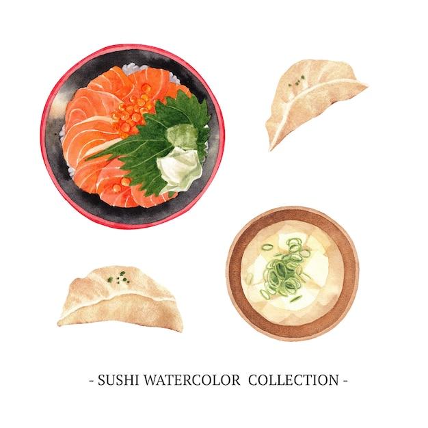 Sushi collectie geïsoleerde aquarel Gratis Vector
