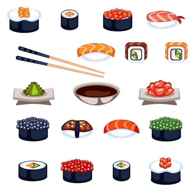 Sushi en broodjes voedsel vector iconen Premium Vector