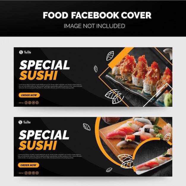 Sushi facbook voorbladsjabloon Premium Vector