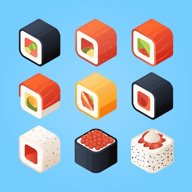 Sushi isometrisch. verschillende broodjes sushi en andere authentieke aziatische gerechten Premium Vector