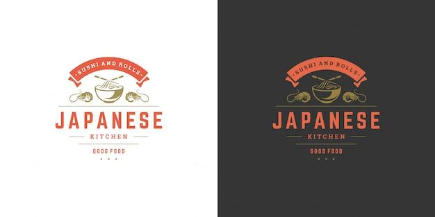 Sushi-logo en badge japans eten restaurant met ramen noodlesoep aziatische keuken silhouet Premium Vector