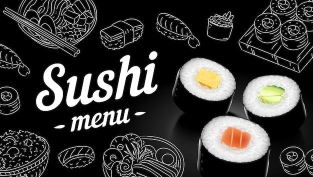Sushi menu schets cover.clip kunst illustratie. Premium Vector