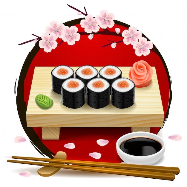 Sushi op houten dienblad. rood symbool van japan en sakura. eetstokjes, wasabi, sojasaus, gember. Premium Vector