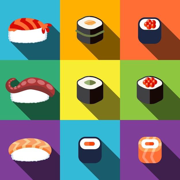 Sushi plat pictogrammen instellen Premium Vector