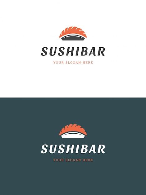 Sushi restaurant embleem logo sjabloon vectorillustratie. Premium Vector