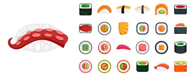 Sushi roll icon set Premium Vector