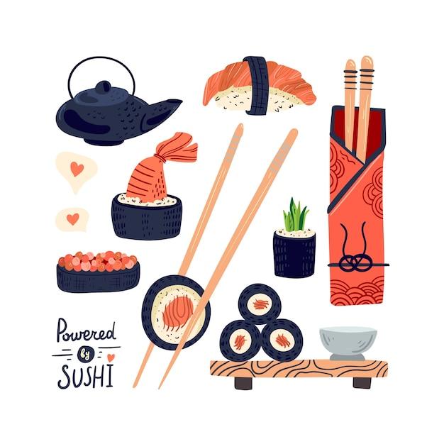 Sushi rolt traditionele gerechten. aziatische keuken Premium Vector
