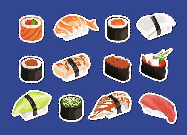 Sushi stickers instellen geïsoleerd op vlakte Premium Vector