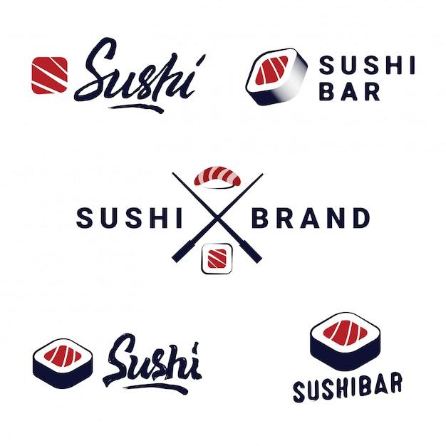 Sushi winkel emblemen sjablonen instellen. vectorobjecten en pictogrammen voor japans voedselkoffie met zalm. Premium Vector