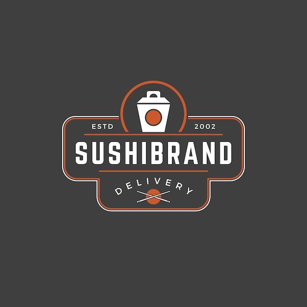 Sushi winkel logo sjabloon japanse noedels doos silhouet met retro typografie Premium Vector