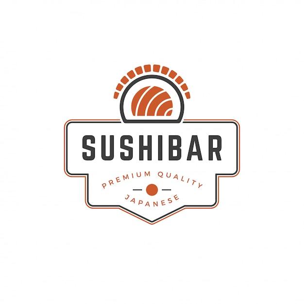 Sushi winkel logo sjabloon zalm roll silhouet met retro typografie vectorillustratie Premium Vector