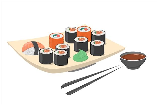 Sushibroodje op de plaat met wasabi en zwart eetstokje. vers japan of chinees eten met zalm. zeevruchten op de plaat. illustratie Premium Vector