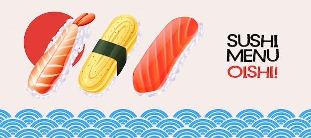 Sushibroodje op japanse stijlachtergrond Premium Vector